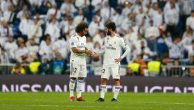 Marcelo e Isco, en el Real Madrid - CSKA de la Champion. Foto: Twitter (@elchiringuitotv)