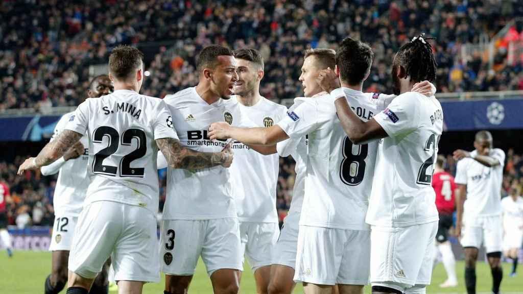 El Valencia celebrando un gol