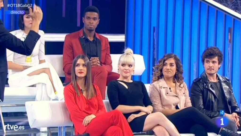 Los seis concursantes antes de la expulsión de Miki.