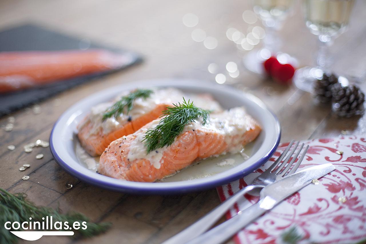 Salmón Noruego con salsa de cava y trufas