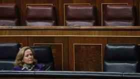 Nadia Calviño en una sesión plenaria del Congreso.