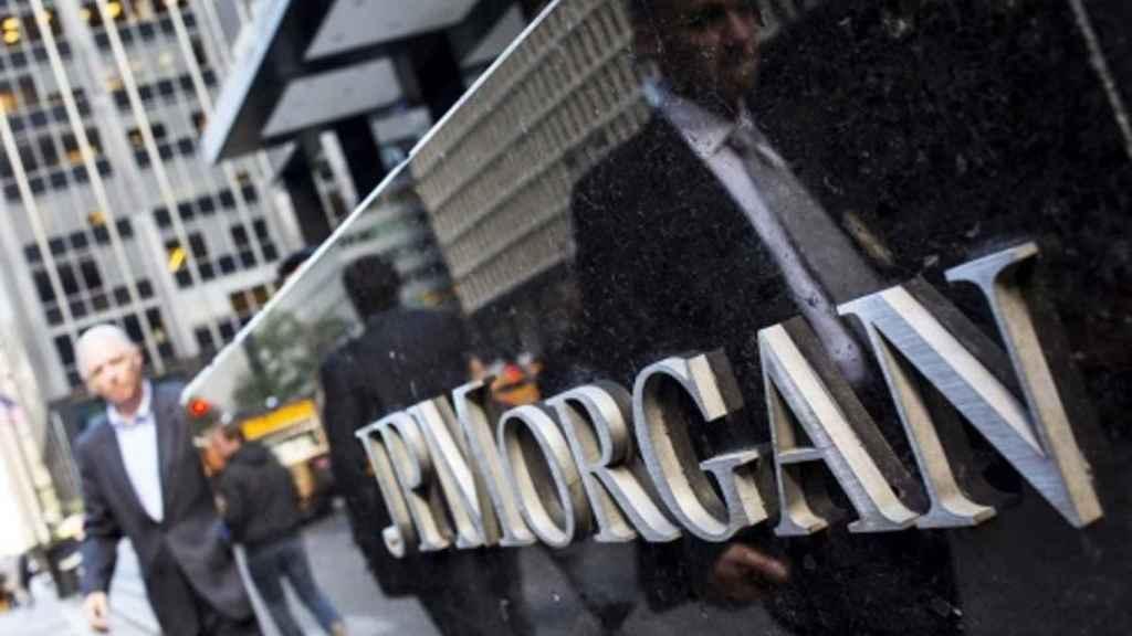 Rótulo de JP Morgan en una de sus sedes.