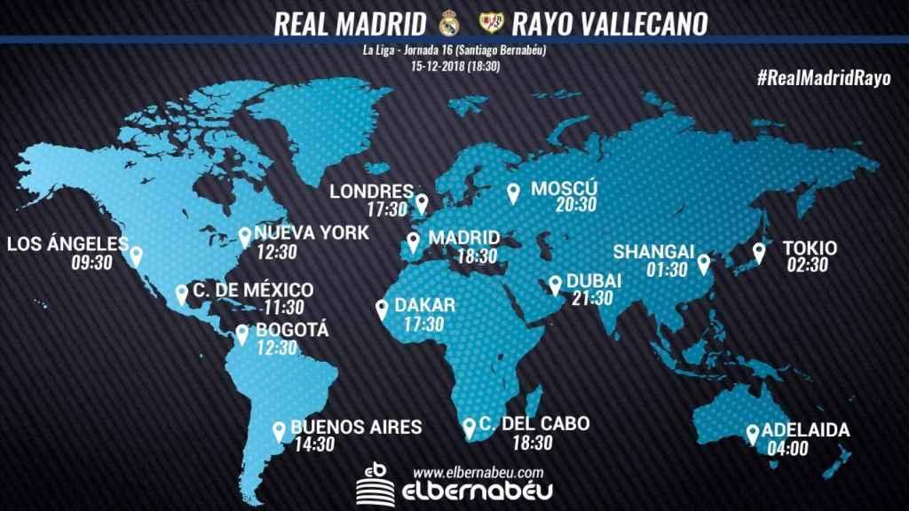 Horarios partido Real Madrid - Rayo Vallecano