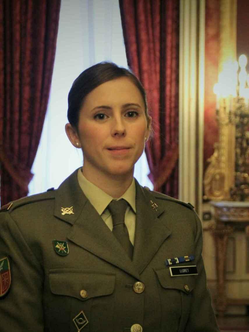 La soldado Ángela Jorgia, en la presentación del calendario del Ejército de Tierra de 2019.