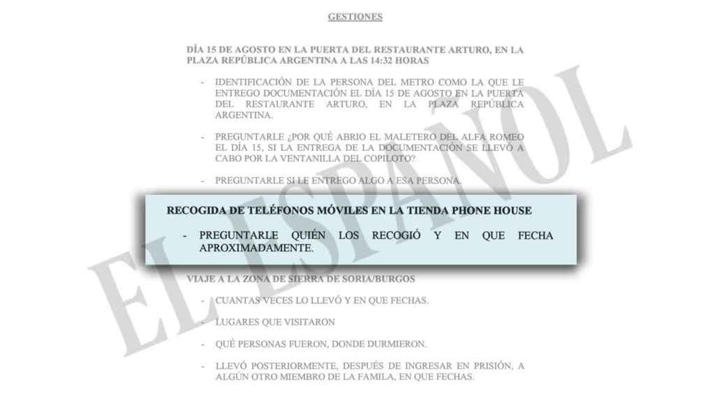 El documento que relata las gestiones a realizar con el chófer de Luis Bárcenas.