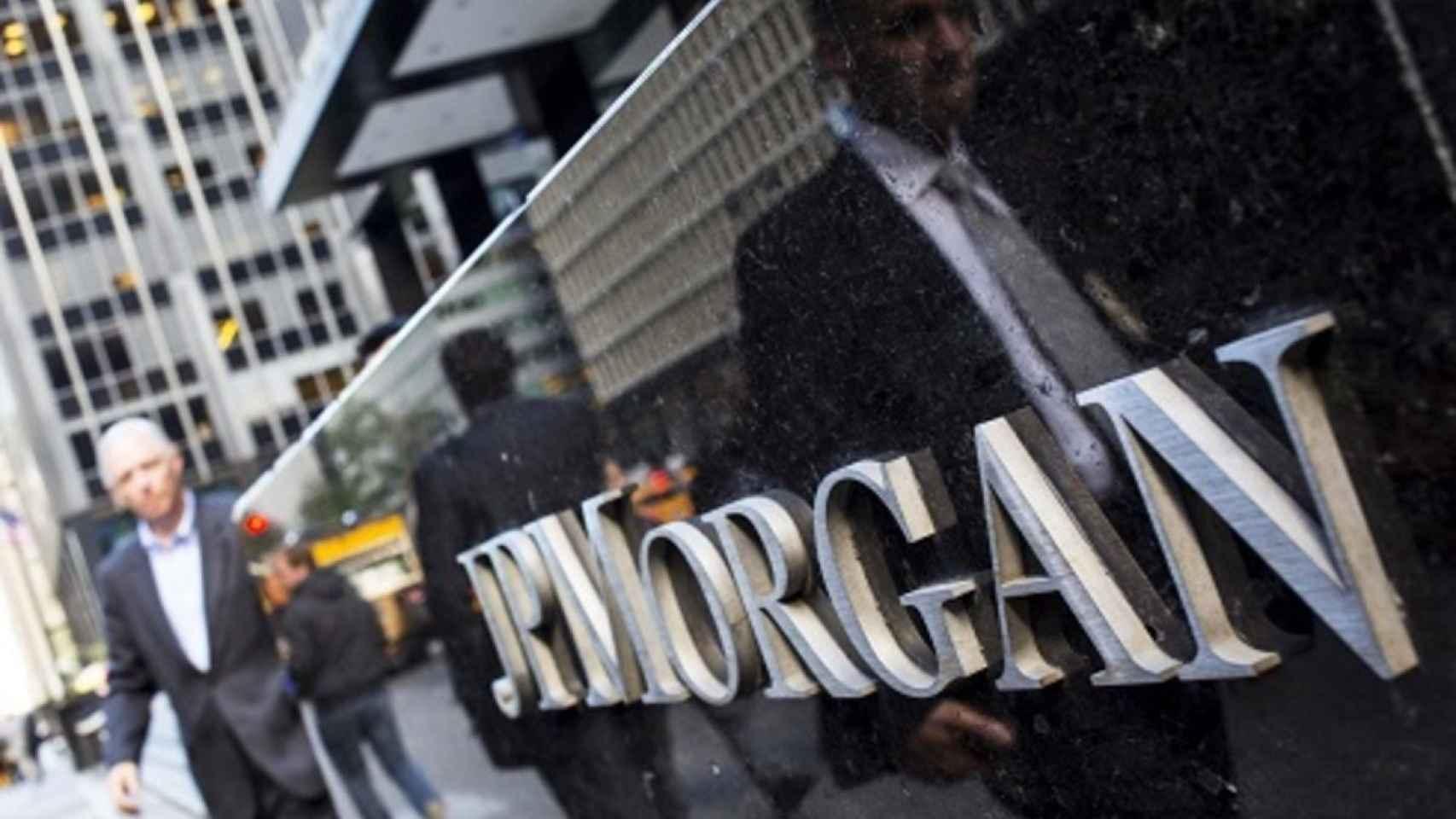 Rótulo en unas oficinas de JP Morgan.