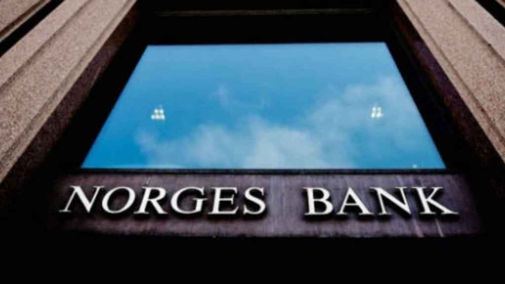 Rótulo en la sede de Norges Bank.