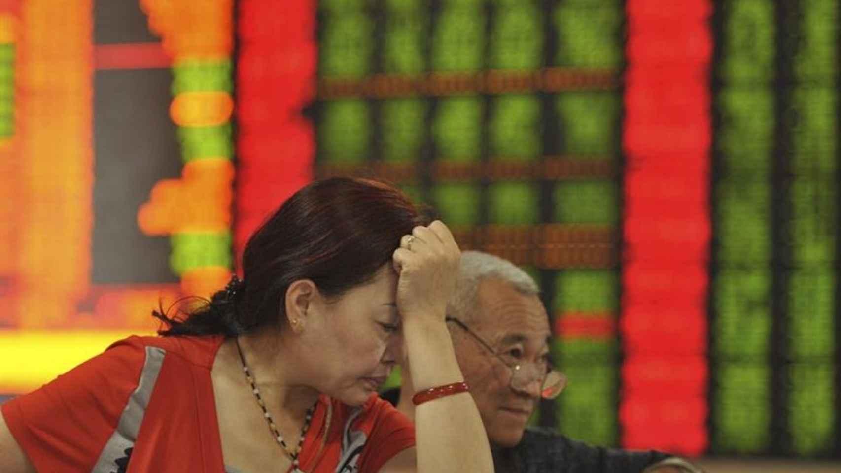 Imagen de archivo de una bolsa de valores en China.