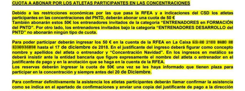 Extracto de la circular de la Real Federación Española de Atletismo perteneciente a la concentración de Navidad.