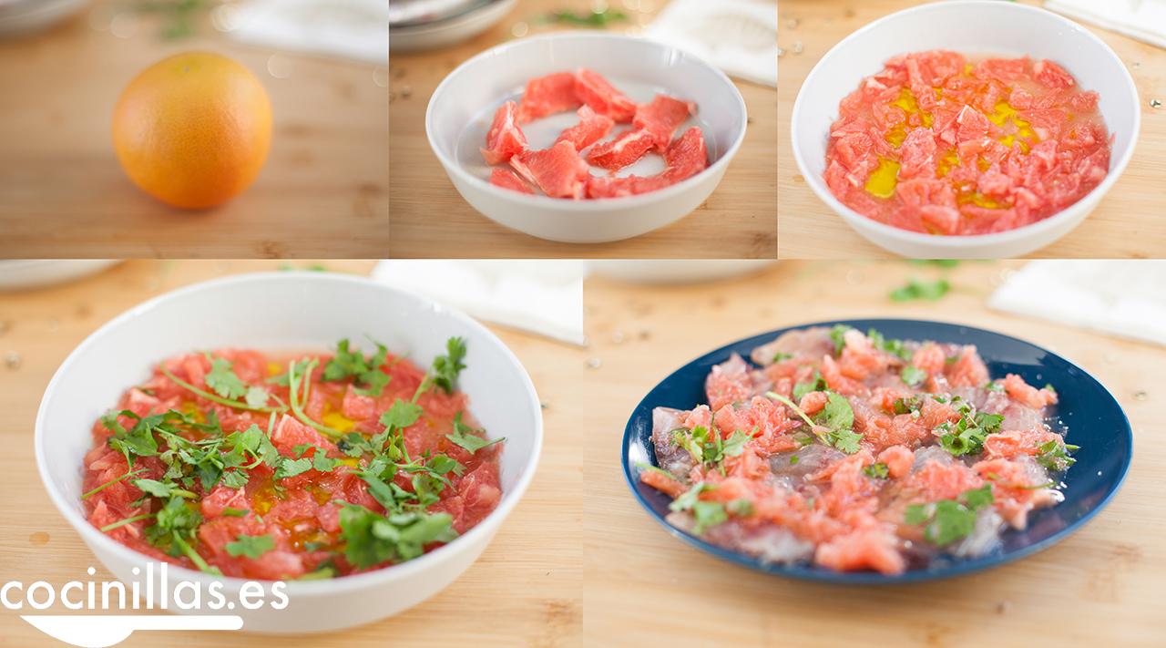 Ceviche de caballa, pomelo y cilantro