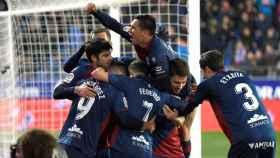 Los jugadores del Huesca celebran el gol que supuso el empate ante el Villarreal