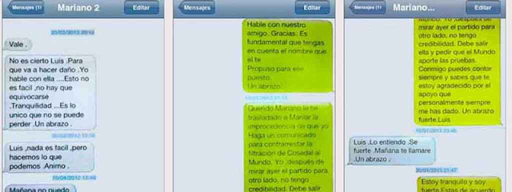 Capturas de los SMS entre Luis Bárcenas y Mariano Rajoy.