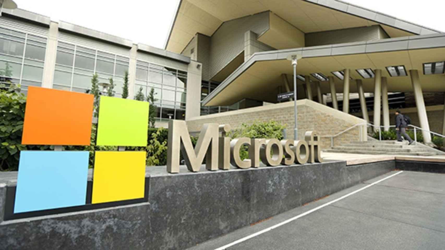 Rótulo en la sede de Microsoft.