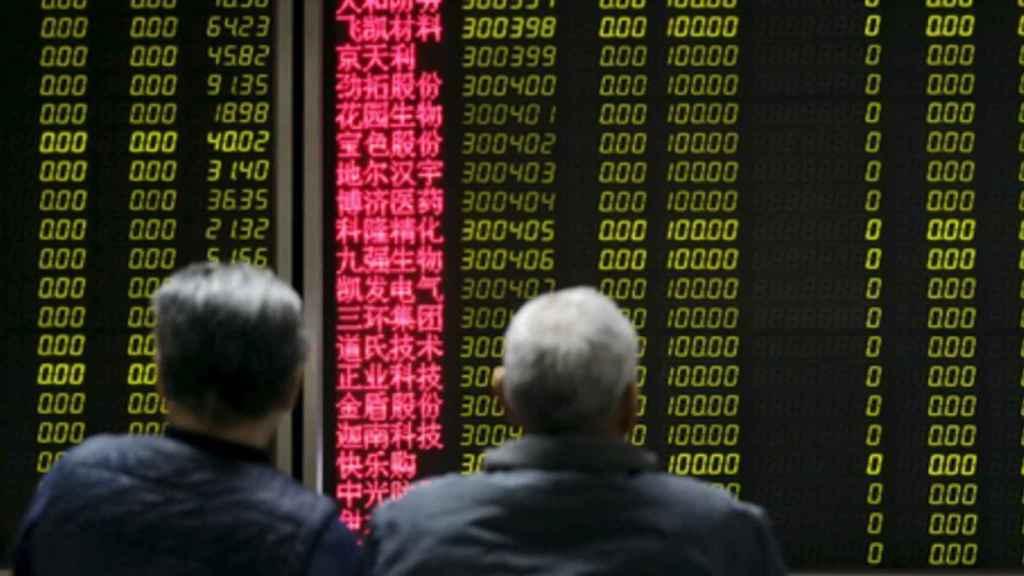 Pantalla de cotizaciones en la Bolsa de Hong Kong.