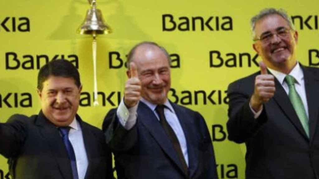 Olivas, Rato y Verdú, en la salida a bolsa de Bankia.