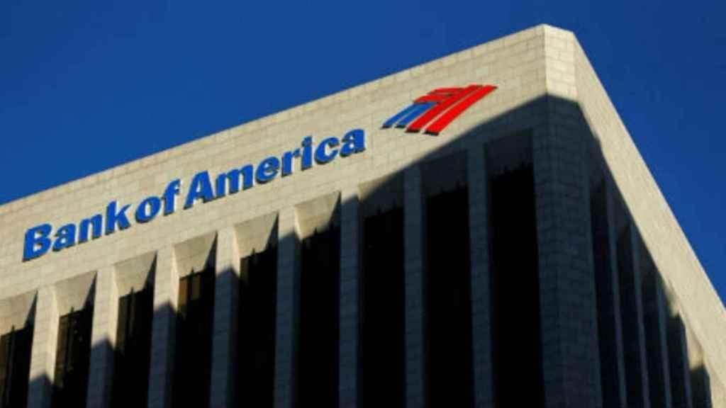Rótulo en unas oficinas de Bank of America.