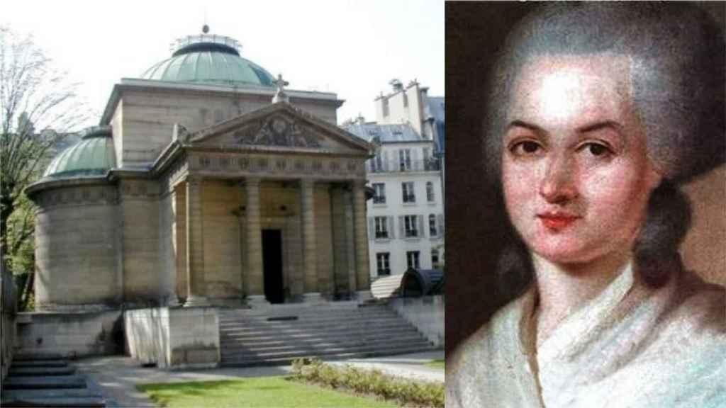 La Capilla Expiatoria y un retrato Olympe de Gouges, una de las personas que pueden estar enterradas ahí.