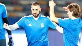 Benzema entrena con Modric