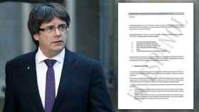A la izquierda, el expresidente Carles Puigdemont. A la derecha, una parte del documento.