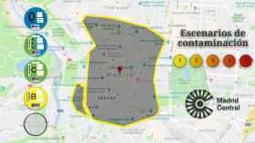 El perímetro que recoge Madrid Central.
