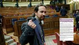 Pablo Iglesias en el Conregso, junto a la carta 'fake' de José María Aznar a la militancia de Podemos.