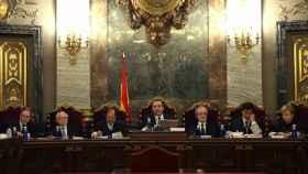 Primera imagen del tribunal del 'procés' en la sala donde se celebrará el juicio./