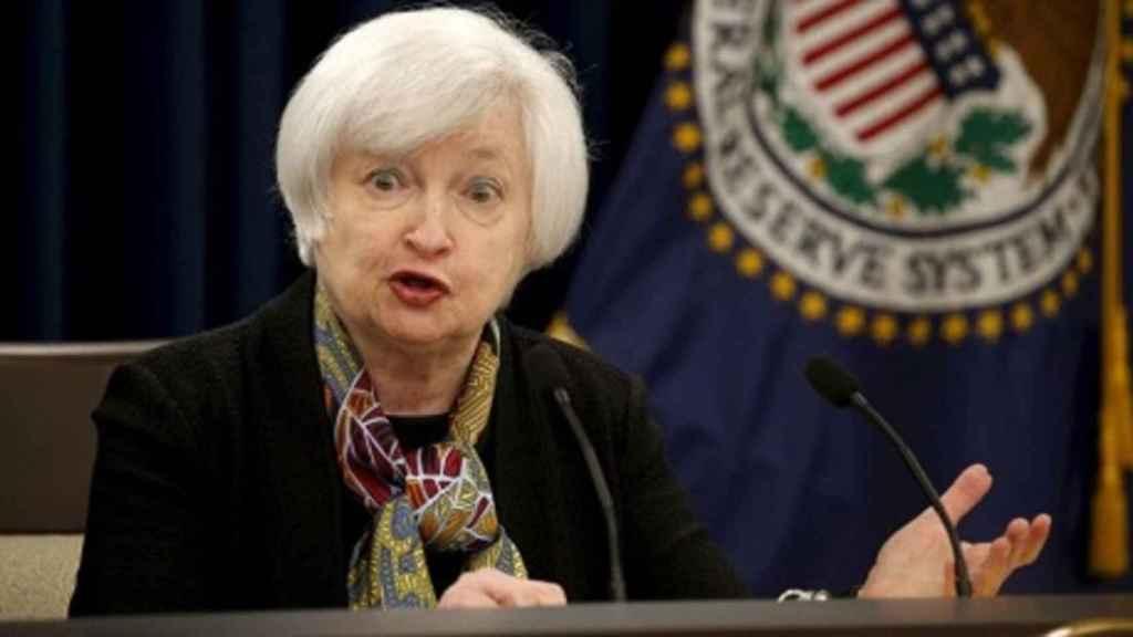 Janet Yellen durante una comparecencia como presidenta de la Fed.