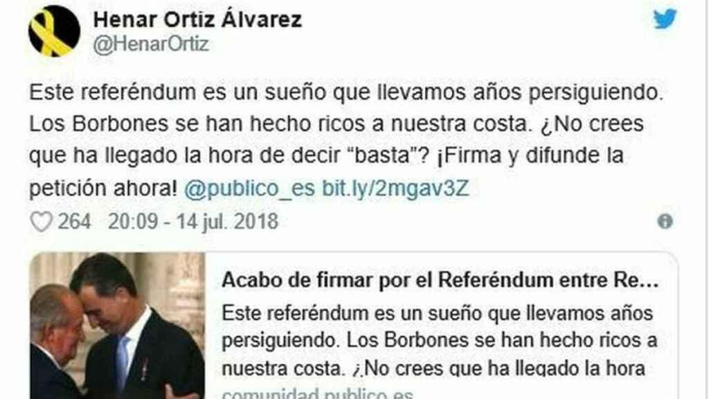 Tuit de Henar Ortiz.