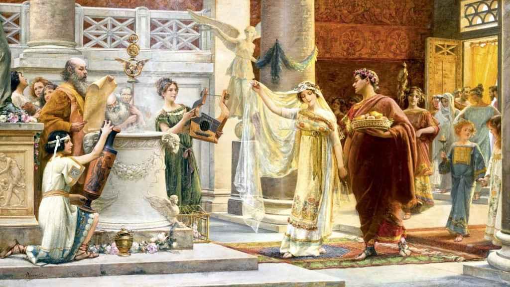 Lienzo de Emilio Vasarri que muestra un enlace matrimonial en la Antigua Roma.