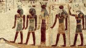 Una pintura en una tumba de un faraón del Antiguo Egipto.