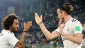Marcelo y Bale celebran el gol al Kashima Antlers