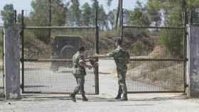Acceso al recinto militar de Tancos, donde se produjo el robo.