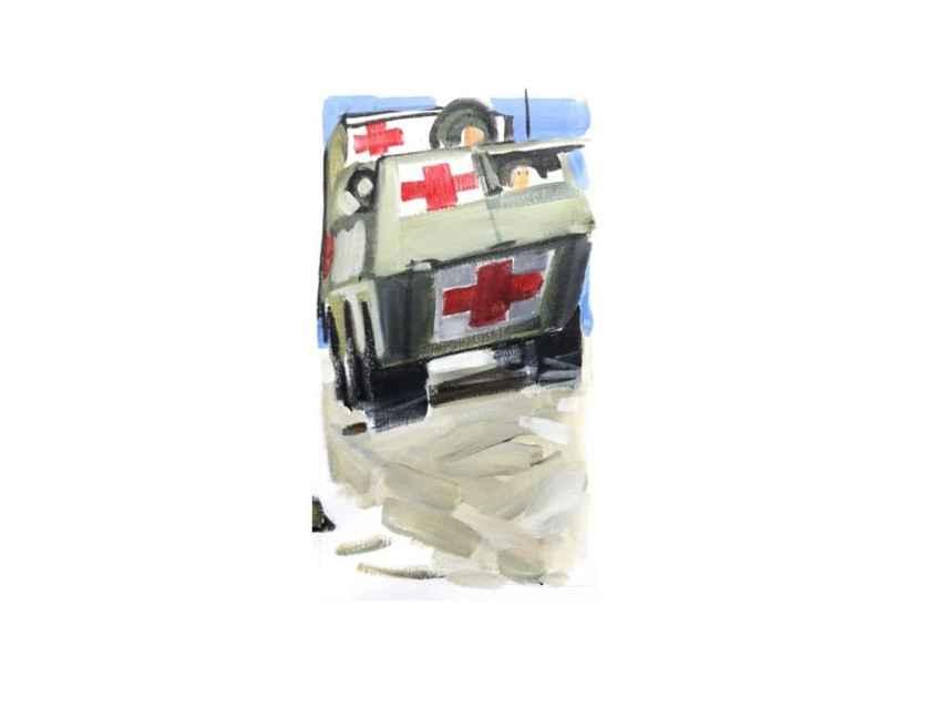 El BMR de Idoia Rodríguez tenía la cruz roja que indica su propósito sanitario.