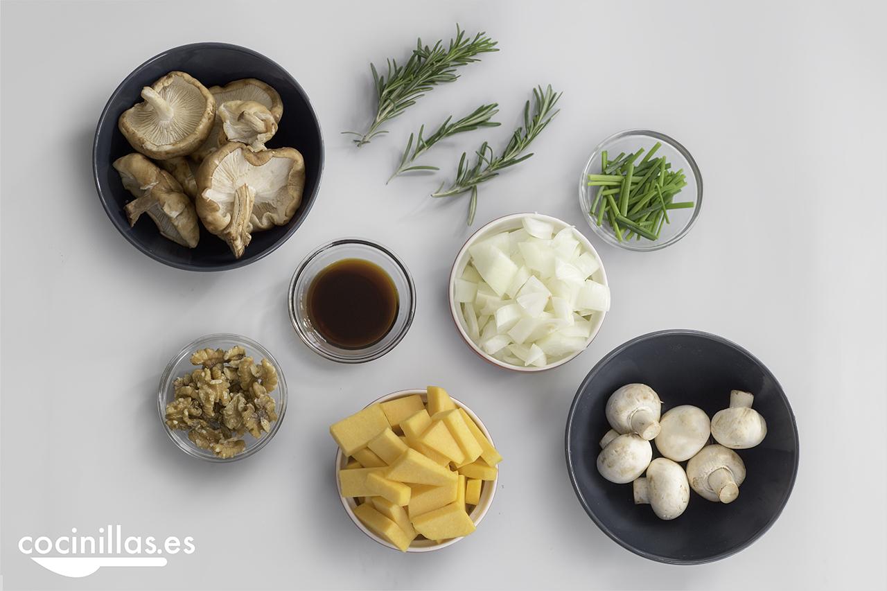 ingredientes para el paté de shiitake