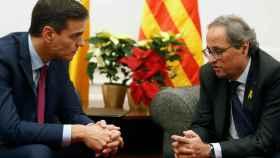 Pedro Sánchez y Quim Torra, durante su reunión en el Palacio de Pedralbes.
