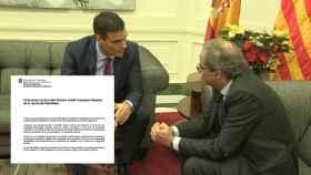 Sánchez y Torra, en el Palacio de Pedralbes, junto a la reproducción del documento pactado.