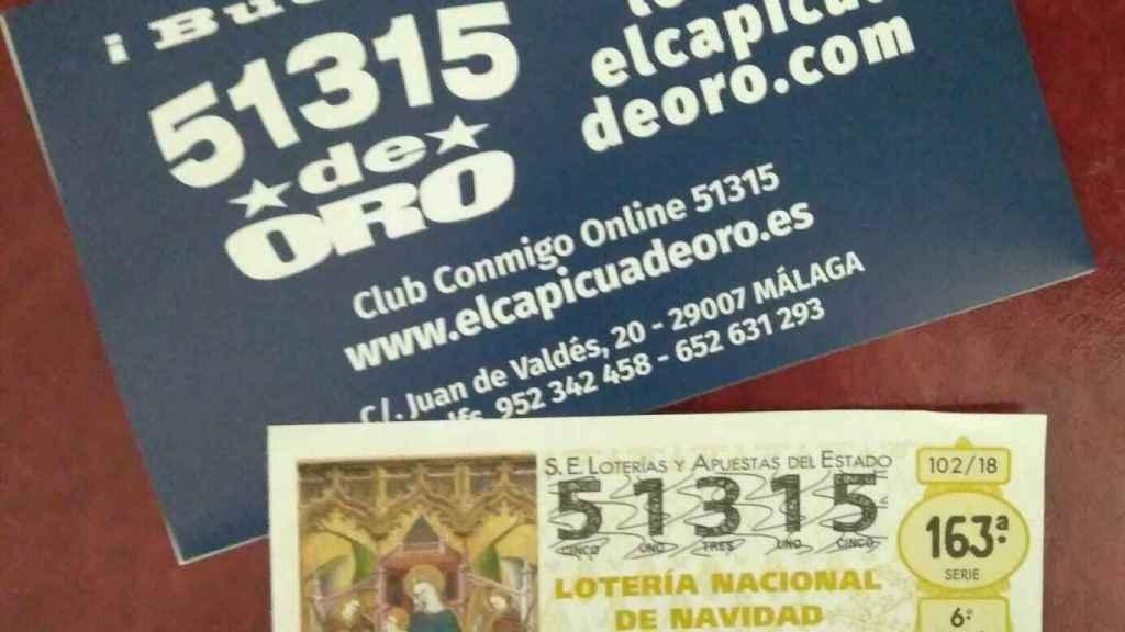 El número capicúa 51315 es el número favorito del establecimiento 'El capicúa de oro' de Málaga.