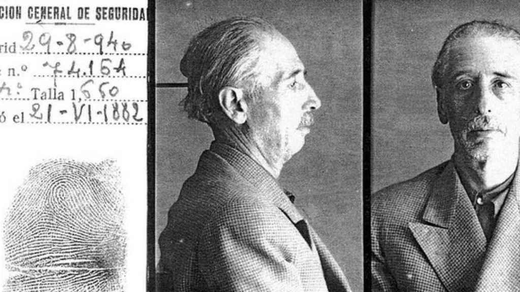 Imágenes de Companys preso en la Dirección General de Seguridad tras llegar a Madrid el 29 de agosto.