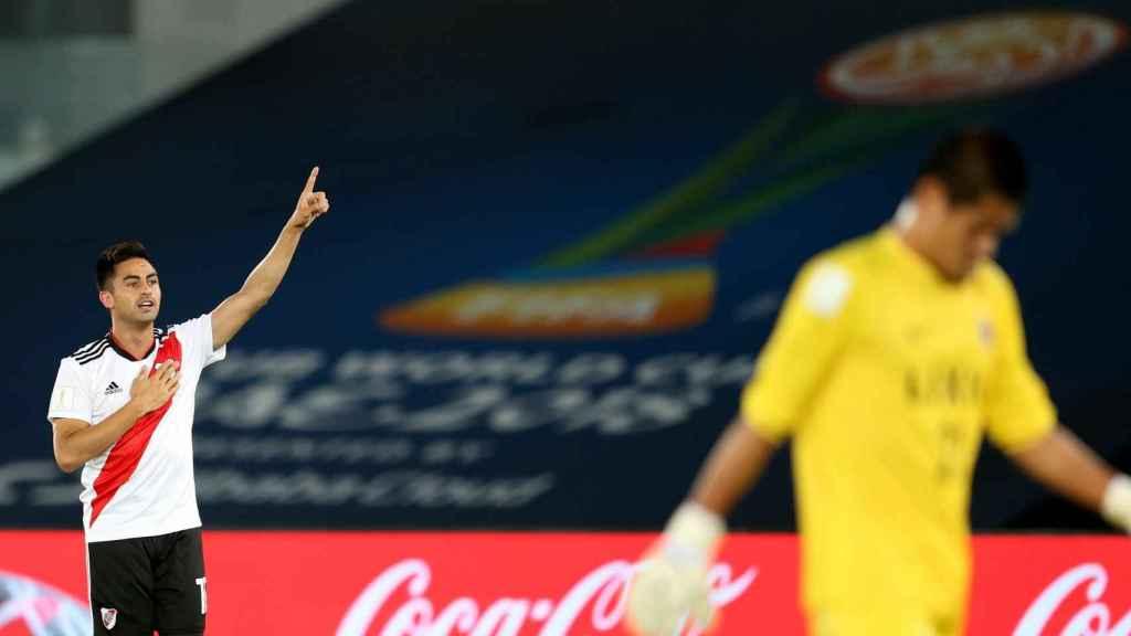 Gonzalo Martínez celebra uno de sus goles en el Kashima Antlers - River Plate