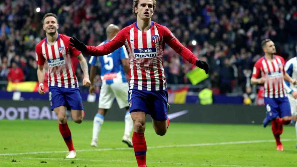 Griezmann celebra un gol ante el Espanyol en el Wanda Metropolitano