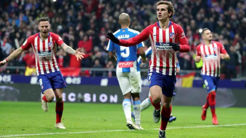 Griezmann, del Atlético de Madrid, celebra su gol ante el Espanyol