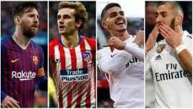 Messi, Griezmann, André Silva y Benzema