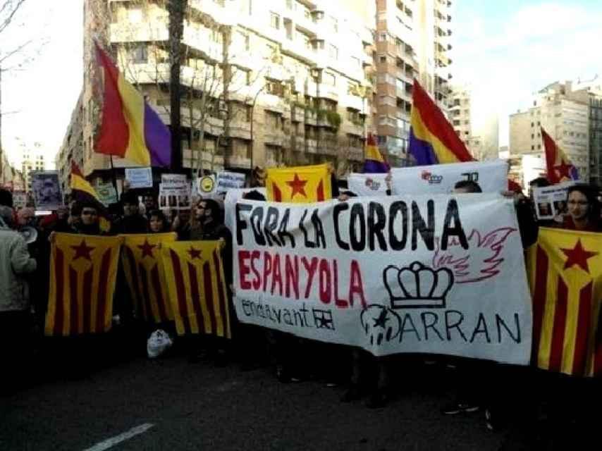Manifestación en contra de la Corona española en Palma de Mallorca.