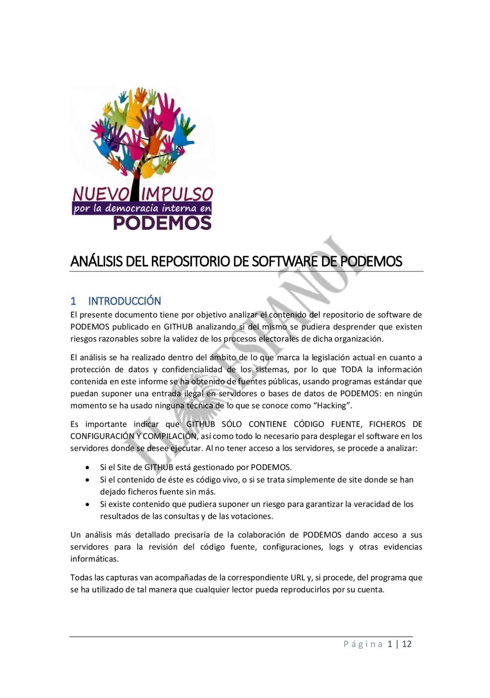 Documento  del colectivo crítico de Podemos.
