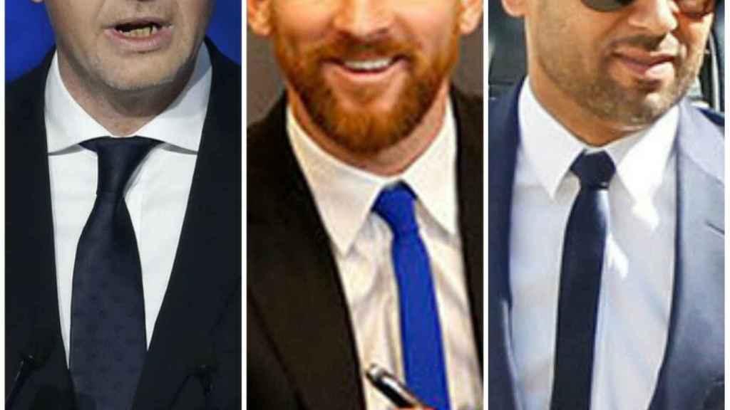 Infantino, Messi y Al-Khelaifi