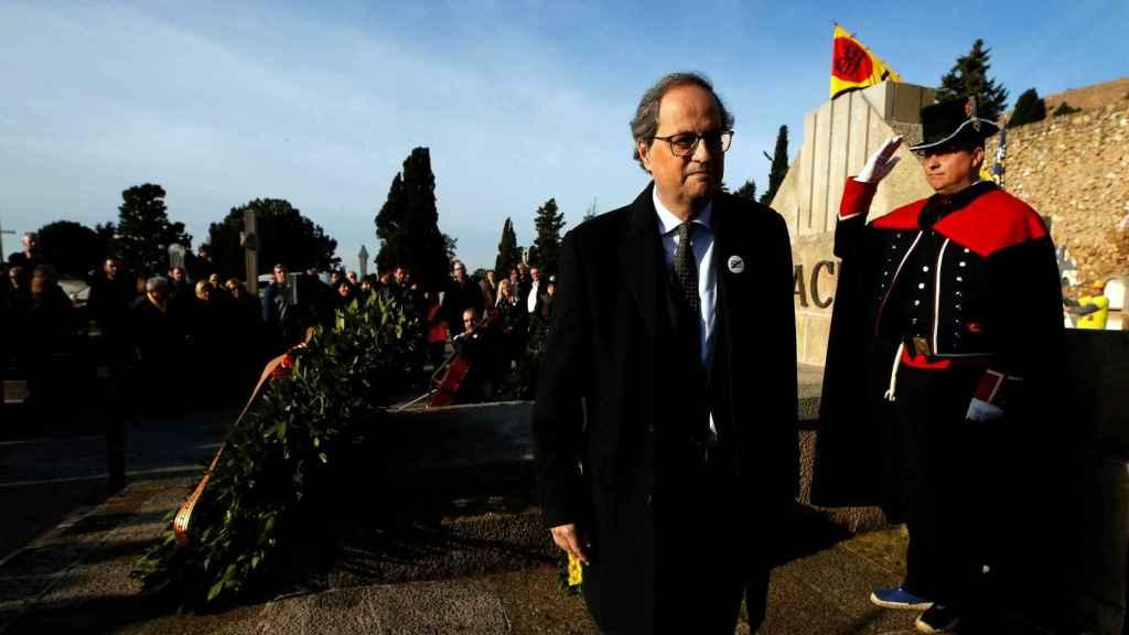El presidente de la Generalitat, Quim Torra, en la ofrenda floral a la tumba de Francesc Macià hace unos días