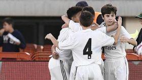 El Infantil B celebra un gol durante la primera jornada del Torneo de LaLiga Promises. Foto: realmadrid.com