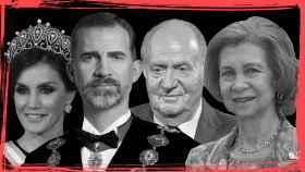 De izquierda a derecha: Letizia, Felipe VI, Juan Carlos I y Sofía.