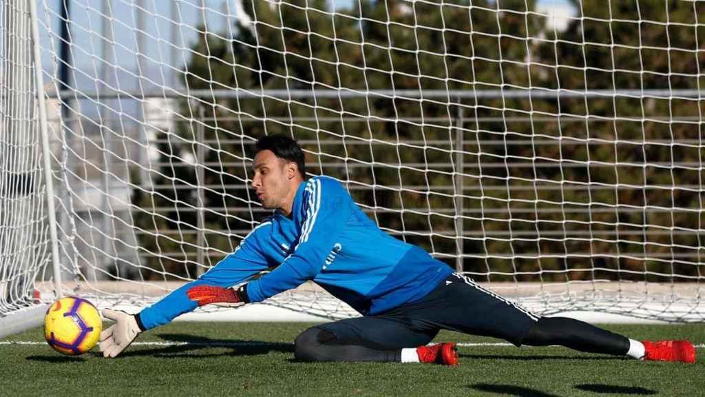Keylor Navas ejercitándose en Valdebebas. Foto: realmadrid.com