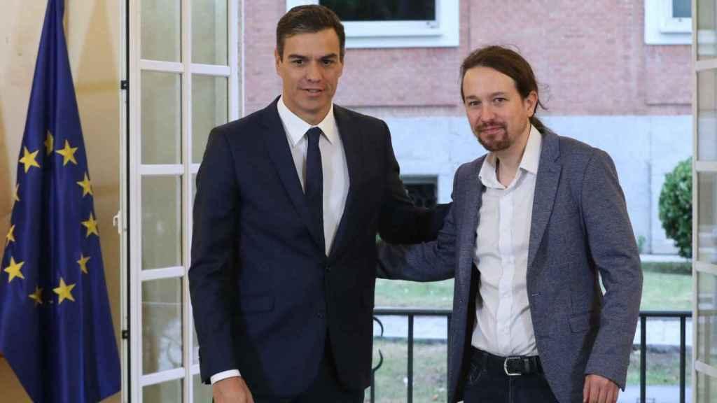 Pedro Sánchez y Pablo Iglesias, en el Palacio de la Moncloa.